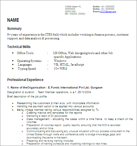 MIS Developer / Senior Reporting Analyst : Free Resume Template