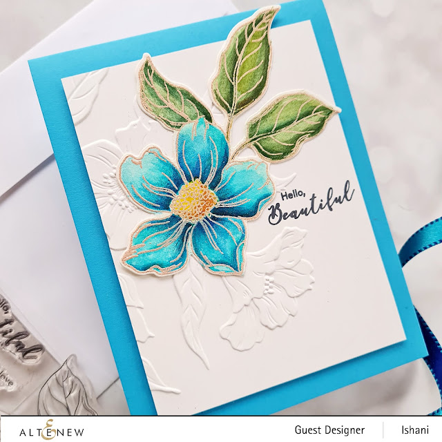 CAS Card Video tutorial cardmaking with Hello Beautiful 3 D embossing folder card, Altenew Embossing folder floral card, watercolor blue flower, guest designer Ishani, quillish