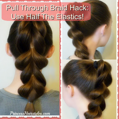 Pull through braid hack! Use half the elastics. Video tutorial.