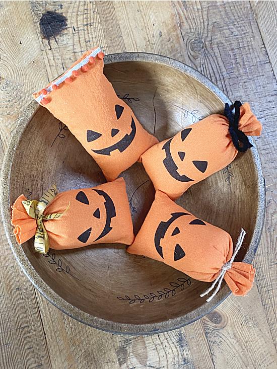 bowl full of pumpkin pillows