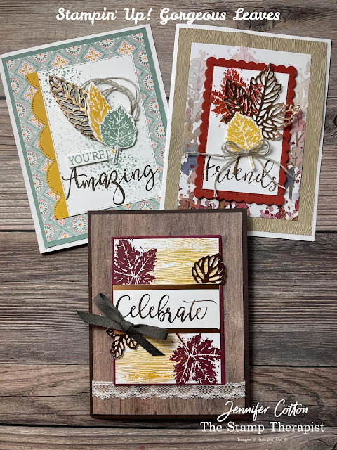 Fall Cards: Stampin' Up! Gorgeous Leaves Bundle and Create with Friends set.  I alsu used the Timber Embossing Folder, Beauty of the Earth DSP, In Good Taste DSP, Harvest Meadow DSP, Brushed Metallic Cardstock, Scalloped Contours Dies, Stitched Rectangle Dies, and more!  Supply List, Video, and Measurements on the blog!  #StampinUp #StampTherapist #GorgeousLeaves #CreateWithFriends