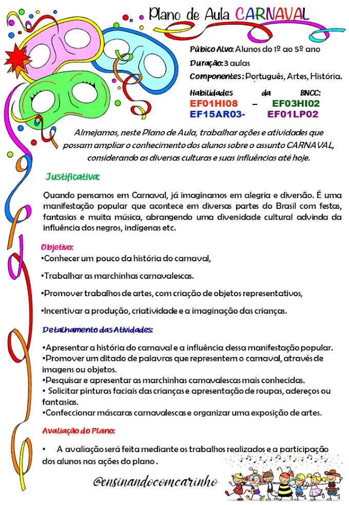 Plano de aula carnaval para turmas do 1º ao 5º ano