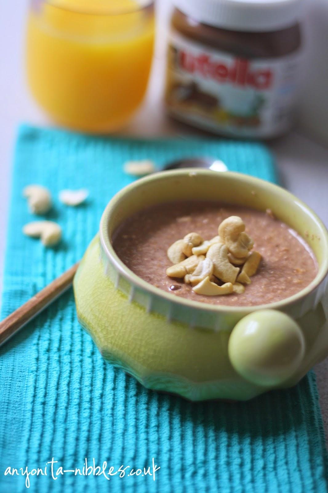 Raw cashews on porridge with Nutella