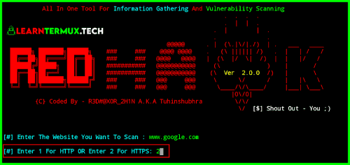 Install and Use RED Hawk Tool in Termux - 2020