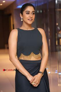 Actress Regina Candra Stills in Beautiful Blue Long Dress at Nagaram Success Meet  0063.JPG