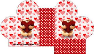 Teddy Bear in Love Heart Shaped Open Box.