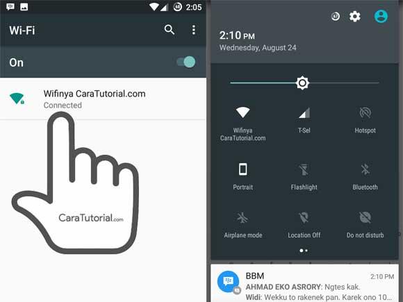 Android berhasil terhubung dengan jaringan wifi hotspot laptop