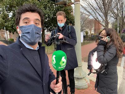 El periodista Emilio Doménech en la inauguración de Joe Biden