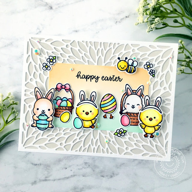 Sunny Studio Stamps: Blooming Frame Dies Chickie Baby Chubby Bunny Just Bee-cause Easter Card by Ashley Ebben