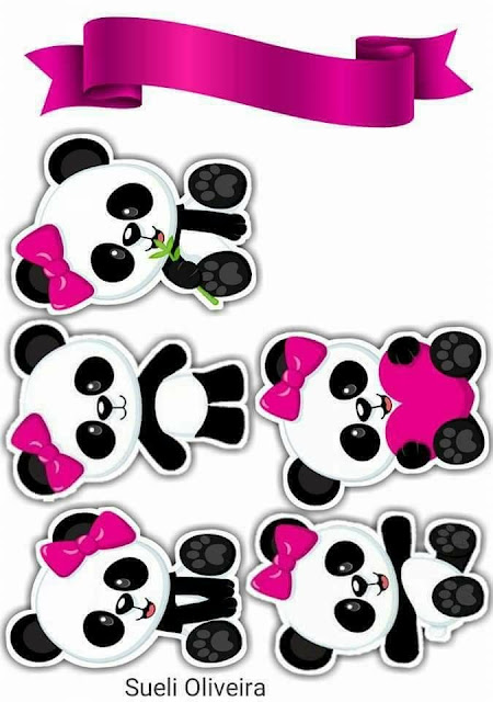 Panda Girl with Pink Bow: Free Printable Cake Toppers.