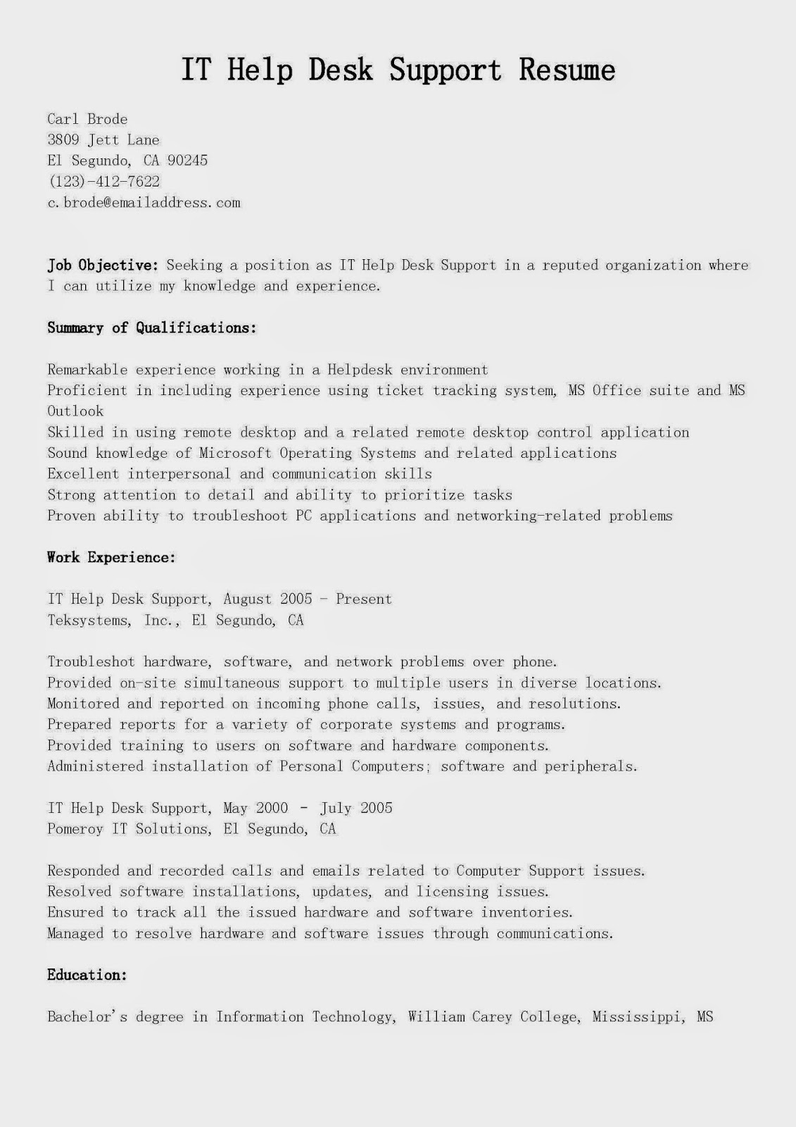 it support resume examples