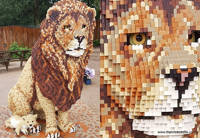 LEGO brick Lion statue and close up of detail on face