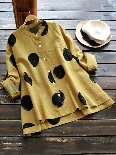 Sweet Stand Collar Polka Dot Loose Blouses