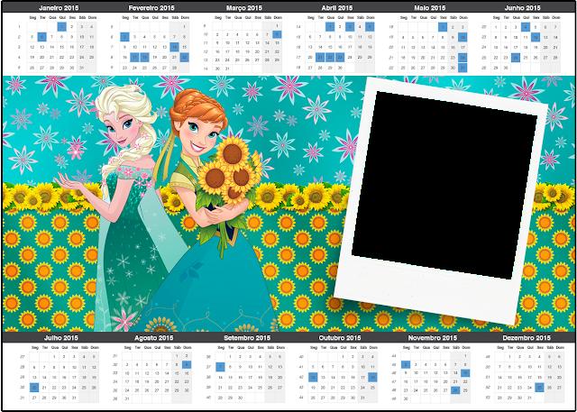 Calendario 2015 para imprimir gratis de Frozen Fever.