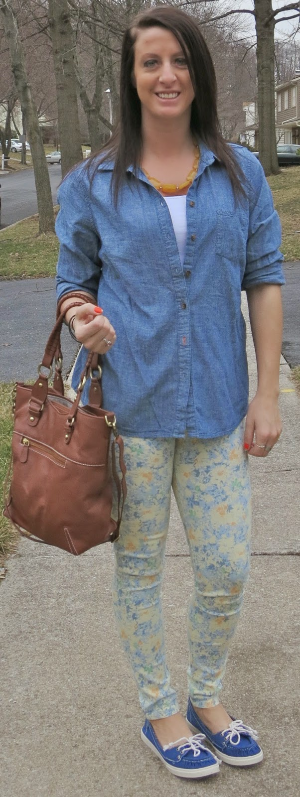 casual shoes, floral pants, chambray, fashion, outfit
