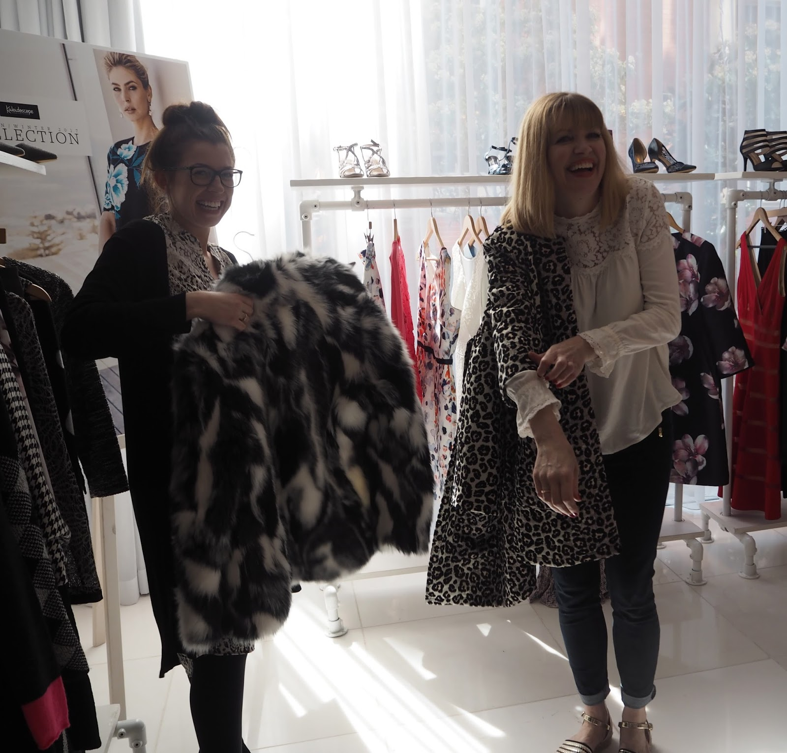 What-Lizzy-Loves-Kaleidoscope-AW17-Press-Day-Black-White-Faux-Fur-Jacket-behind-the-scenes