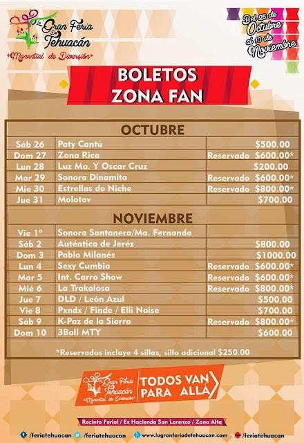 Boletos zona fan Feria Tehuacán 2013