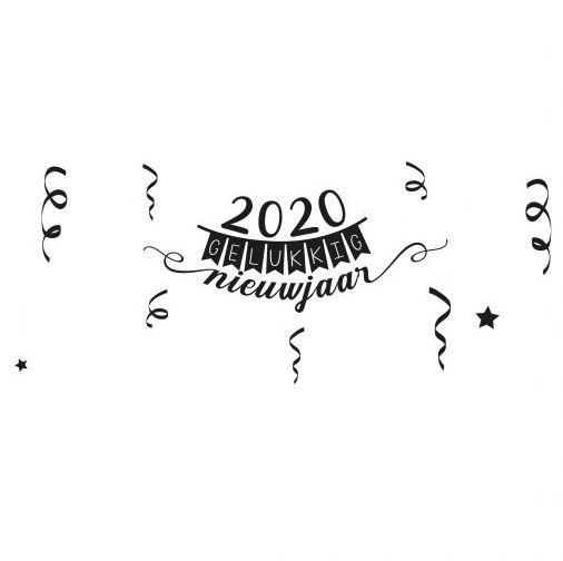 2020 Gelukkig nieuwjaar zwart wit