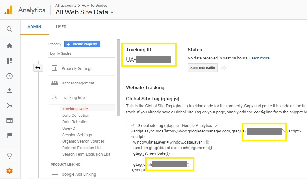 Google analytics tracking code preview.