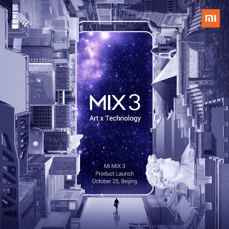 Xiaomi Mi MIX 3 to launch on October 25