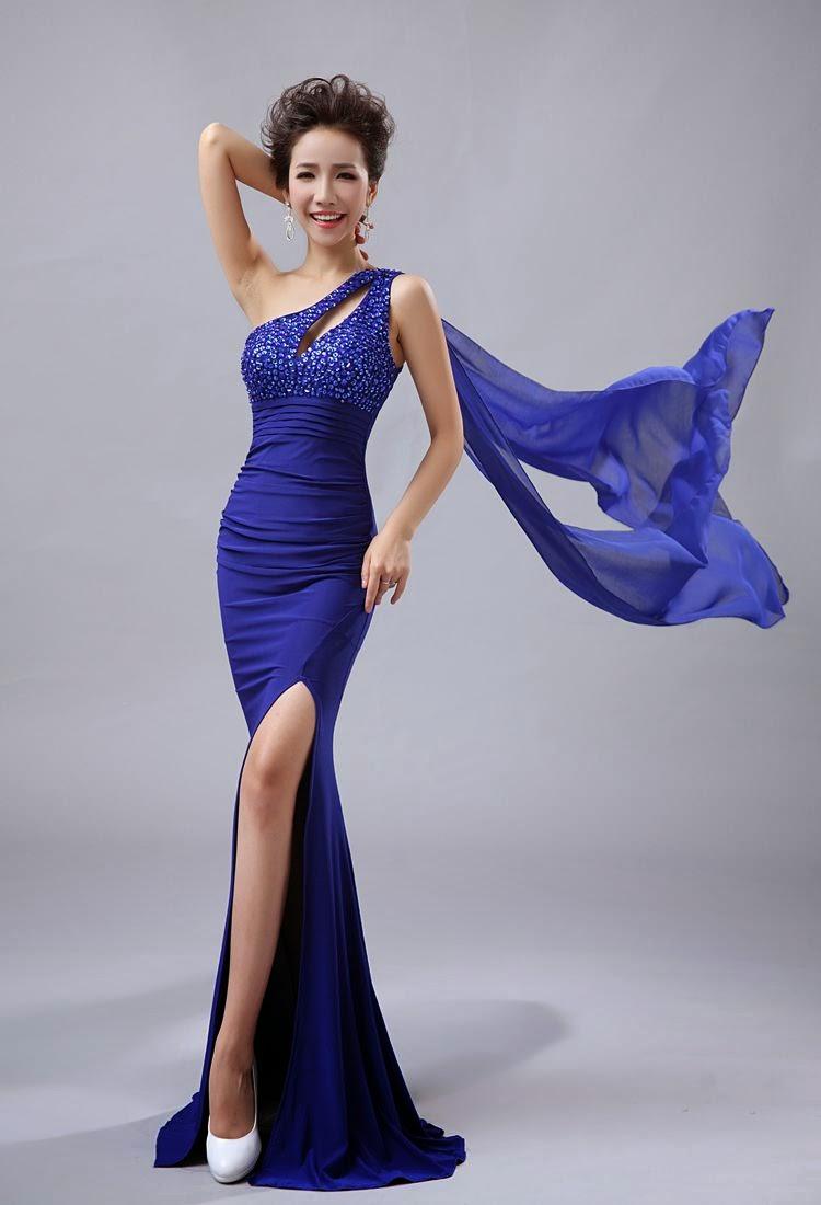 High Slit Side Draping Elegant Evening Dress My Gown Dress