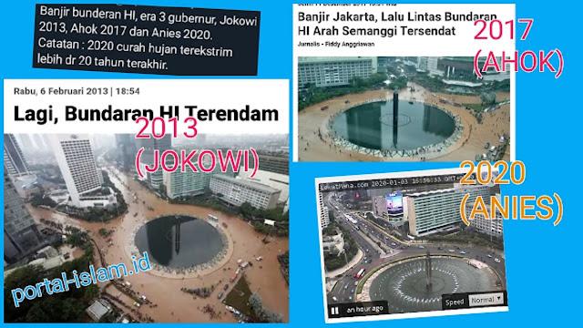 LIHAT BEDANYA! Banjir Bunderan HI di Era 3 Gubernur: Jokowi, Ahok, Anies