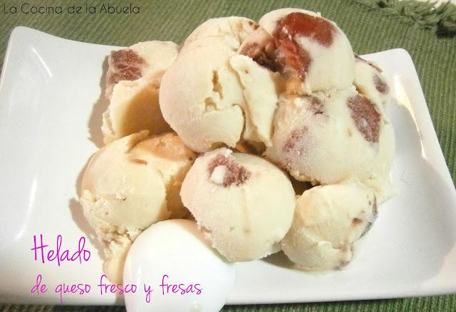 Helado de queso fresco y fresa. (Sin heladera)
