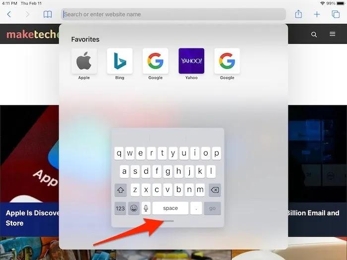 كيفية تقسيم عائم لوحة المفاتيح باد