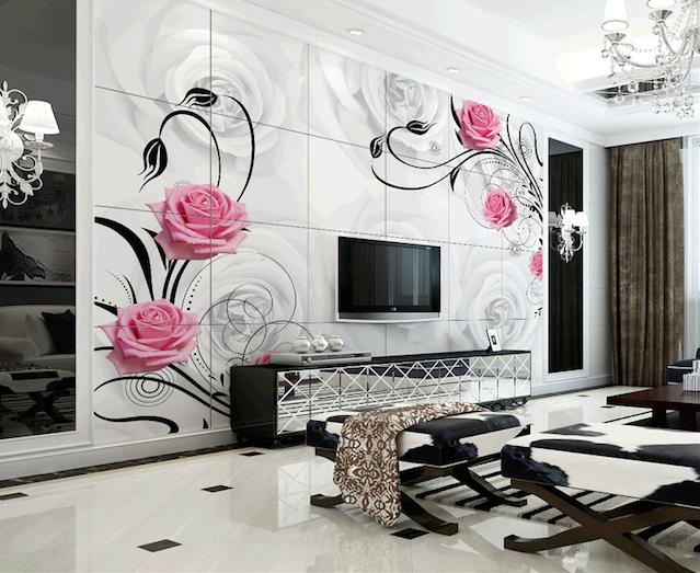 Flower Wallpaper Designs themes For Living Room