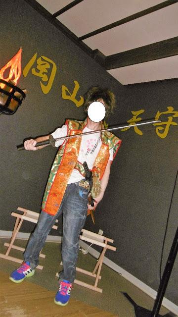 岡山城の場内での武将体験