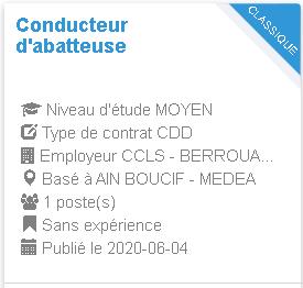 AIN BOUCIF - MEDEA Conducteur d'abatteuse