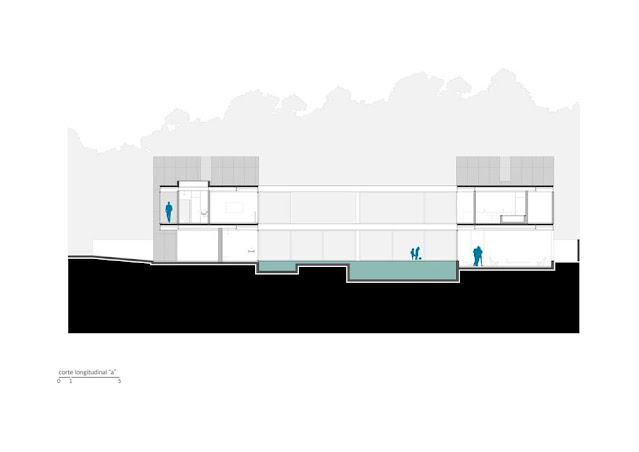 Projeto Casa Ribas criado pelo Estúdio MRGB - Corte Longitudinal A