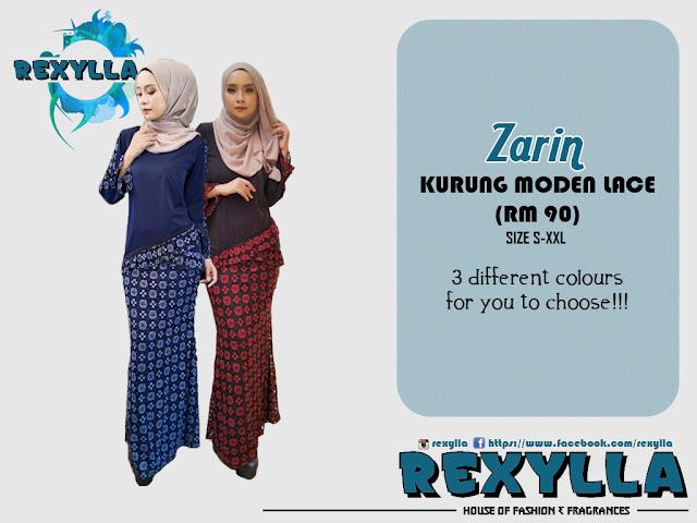 rexylla, baju kurung, kurung moden, kurung lace, zarin collection