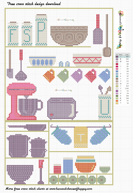 Free Cross Stitch Sampler Pattern. Modern Kitchen Cross Stitch Design and Motifs to Download.
