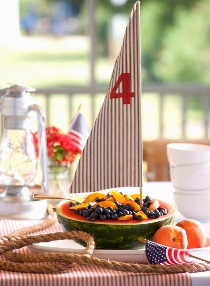 nautical 4th of July table centerpiece