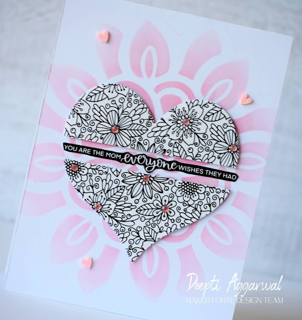 Stenciled Mother's Day Card