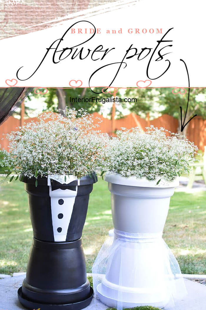 How to make adorable bride and groom flower pots to flank the aisle for an outdoor wedding and can easily be transported to the reception venue later. #weddingflowerarrangements #weddingflowerdecorations #brideandgroomflowerpots