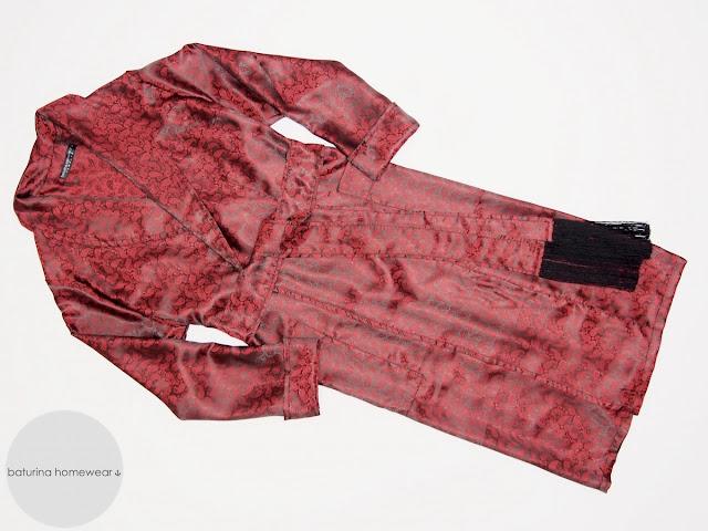 mens paisley silk dressing gown dark red long luxury robe man lightweight summer housecoat