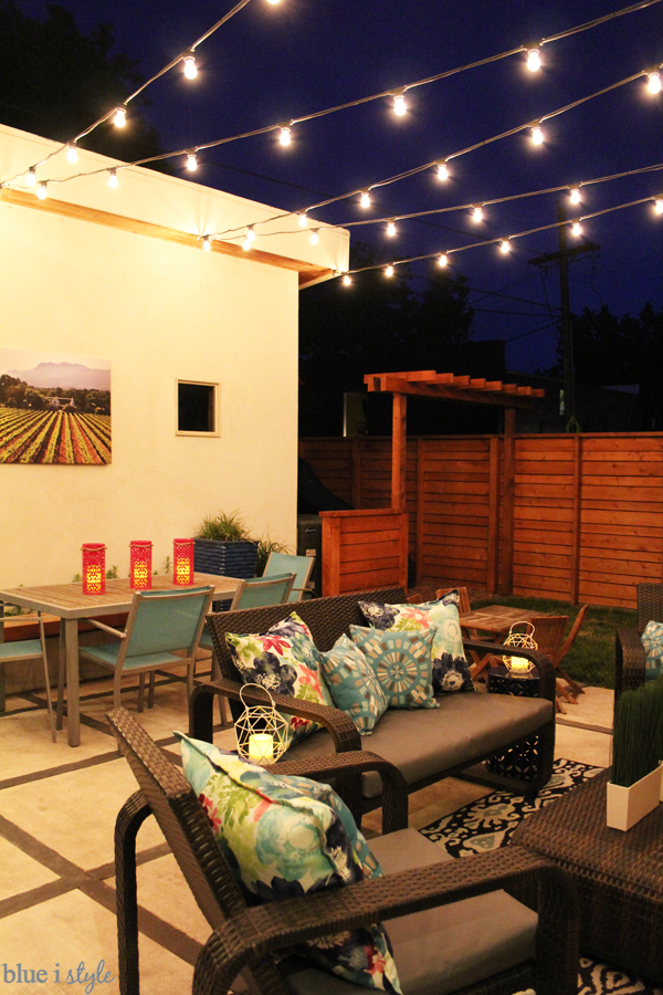 How to Hang Patio String Lights | Blue i Style - Creating an ... String Globe Lighting Ideas Inside Html on
