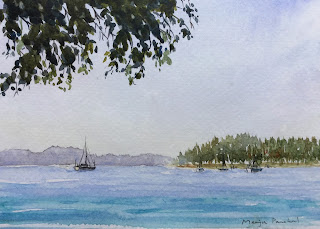 A water color painting of a scene from Langkawi, Malaysia on Strathmore water color paper