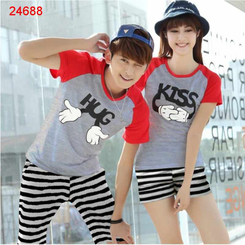 Jual Couple Setelan CS Hug Kiss - 24688
