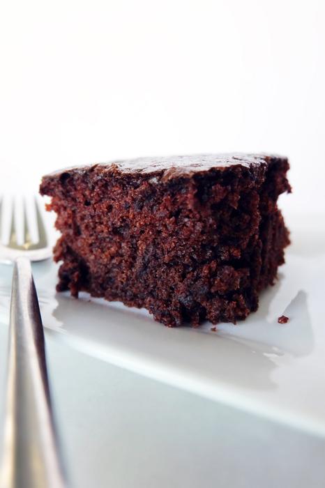 slice of quick chocolate cake