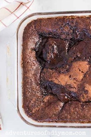 family sized pan of chocolate lava cake
