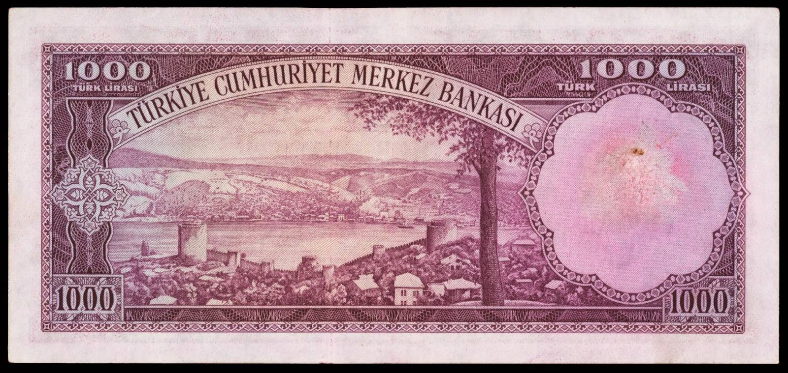 Turkey currency 1000 Turkish Lira banknote 1953
