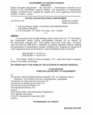 School Education Department – BE 2020-2021 – Administrative Sanction for an amount of Rs.1,83,48,000/- towards meeting the expenditure of transportation charges & Material and Supplies for classes IX-X under Jagananna Gorumudda Scheme - Orders – Issued