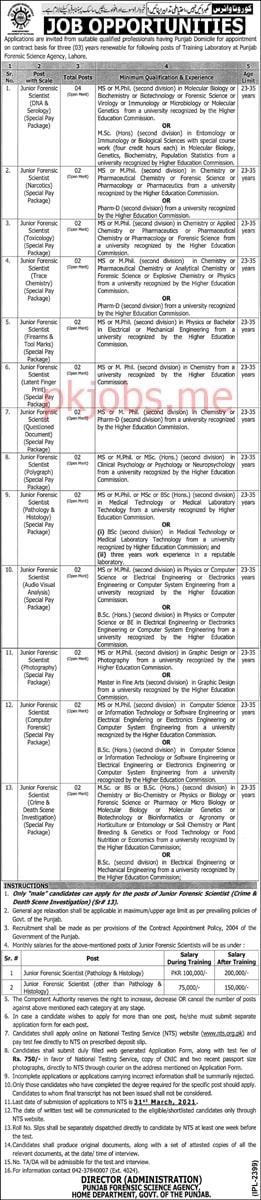 Latest Punjab Forensics Science Agency Scientific Posts 2021