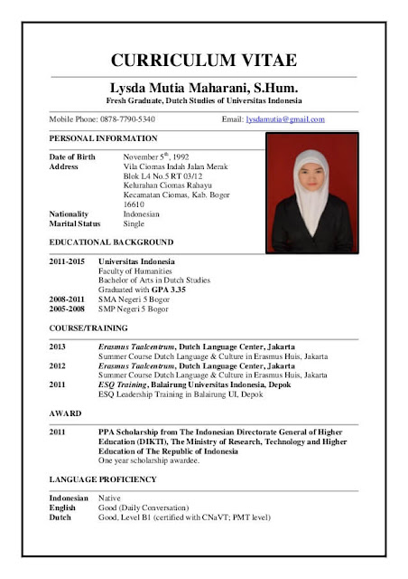 Contoh Curriculum Vitae Cv Dalam Bahasa Inggris Terbaru Lengkap