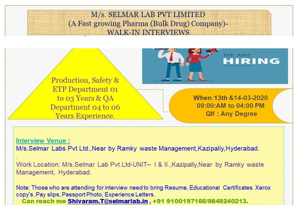 SELMAR LAB PVT. LTD - Walk-In Interviews for Production   Safety   ETP   QA on 13th & 14th Mar' 2020