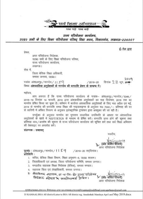जूनियर स्कूलों में तैनात अनुदेशकों के मानदेय प्रेषण (anudeshak salary order) का आदेश जारी,अप्रैल व मई 2019 का मिलेगा मानदेय