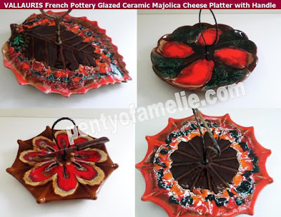 Fall Season VALLAURIS French Pottery Glazed Ceramic Majolica Cheese Platters, cake serving plates with Handle
